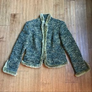 Lafayette 148 Tweed Fur Trim Jacket-NWOT